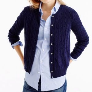 Jcrew Cambridge navy cable knit wool cardigan